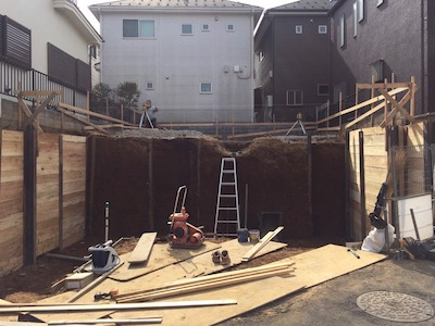 所沢市注文住宅の山留め工事写真